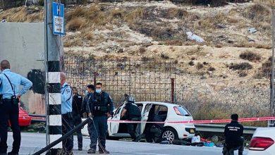 صورة اطلاق النار على مشتبه به خلال محاولة تنفيذ هجوم دهس بالقرب من القدس